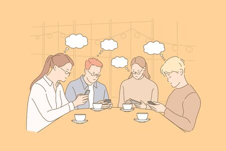 Communication, thought bubble, addiction, business, teamwork concept  イラスト・ベクター素材