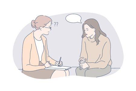 Psychology, communication, depression, speech bubble, therapy concept Ilustracje wektorowe