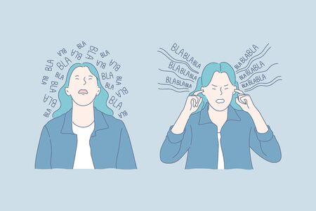 Mental health, gossip, stress set concept Illustration