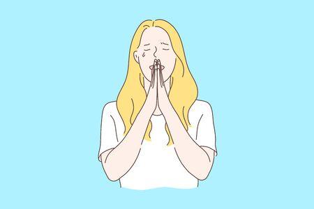 Orando, pidiendo ayuda a Dios concepto