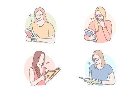 Lecture du concept de jeu de livres intéressant ou ennuyeux