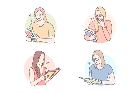 Reading interesting or boring book set concept