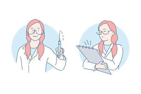 Medical procedures and examination set concept