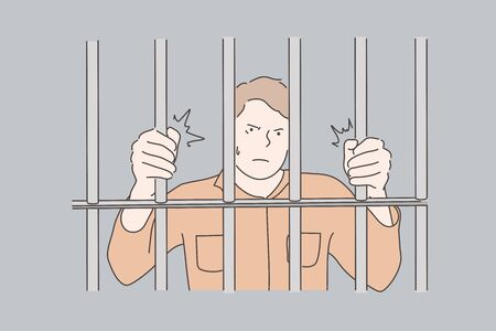 Jail, prisoner, crime concept Stock Illustratie
