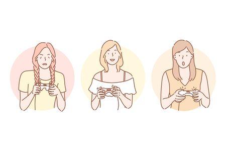 Gamer, playing, addiction set concept 矢量图像