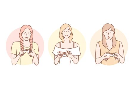 Gamer, playing, addiction set concept Illustration
