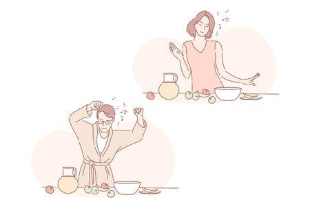 Healthy vegan food, breakfast, good day set concept
