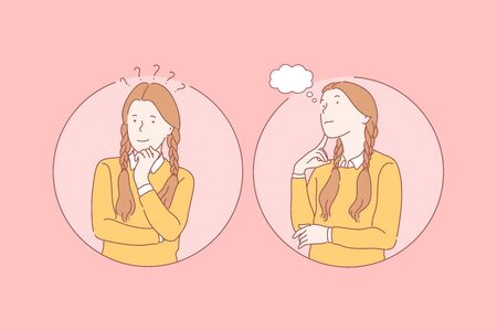 Thinking, pupil, dream set concept. Young pensive girl has question and thinking about problem. Happy thoughtful satisfied kid is dreaming. Smiling child pupil is solving riddle. Simple flat vector.