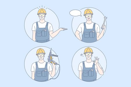 Building, repair, work set concept. Young man builder is holding drill in his hand. Happy guy with helmet shows ok sign. Boy promotes new industrial work project. Male is repairing and holds wrench. Stock Illustratie