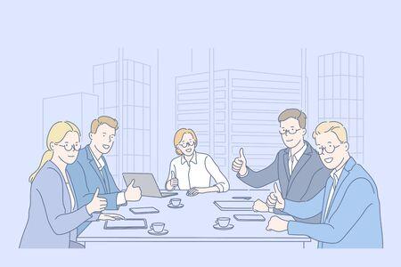 Like, teamwork, business, team concept Vecteurs
