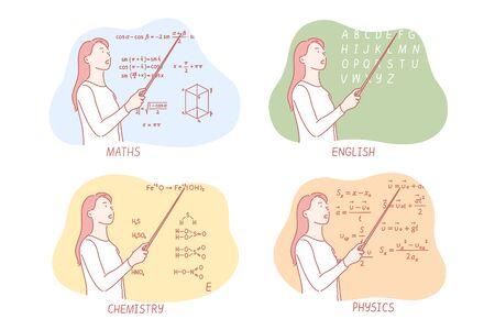 Teaching school subjects set concept