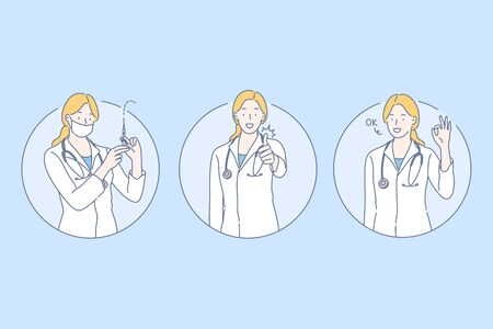 Healthcare, doctor set concept