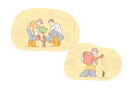 Greening, fatherhood, childhood, care set concept 向量圖像
