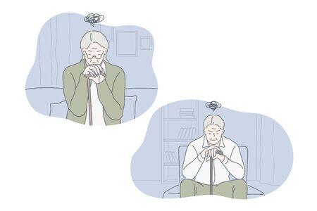 Depression, frustration, loneliness, nursing home set concept