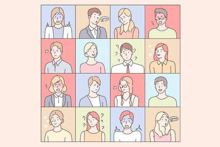 Young peoples emotions set concept Illustration