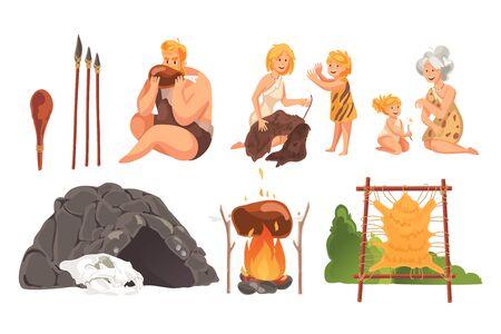 Prehistoric people stone age set concept Vector Illustratie