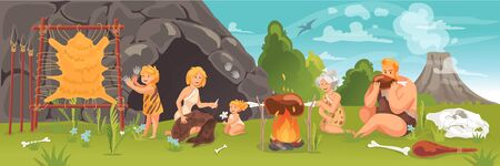 Prehistoric people at stone age concept