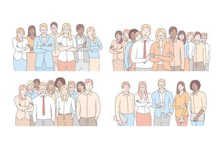 Set of businesspeoples teams concept Vecteurs