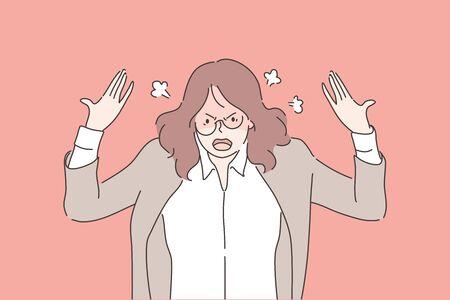 Anger, agression, stress, depression, nervous breakdown, business concept Ilustración de vector