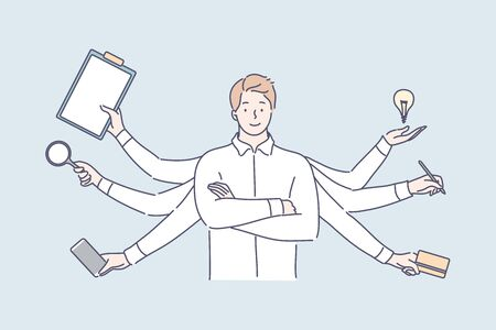 Multitasking, business efficiency, overload, professional competence concept.