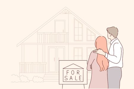Buy, sale, house, real estate, family concept. Young sad couple in love, husband and wife characters sell, leaving their house offered for sale because of debts. Buying new real estate for family life Vetores