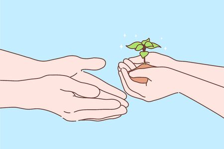 Greening, gardening, agriculture concept. Human hands palms holding and passing little sprout or sapling to other. Earth protection and enviromental care or new life symbol vector cartoon illustration