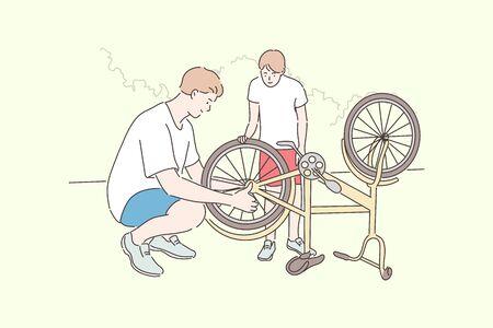 Fatherhood, cycling, childhood, repair concept