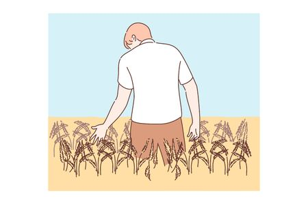 Agriculture, farming, agronomy concept. Young man or boy agronomist farmer cartoon character standing in golden wheat field holding rye ear. Barley or grain agricultural harvest season illustration.