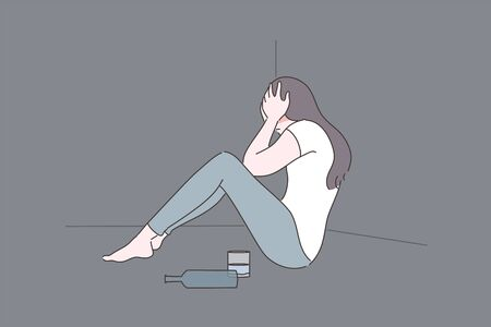 Female alcoholism, depression, addiction, mental stress concept Illustration