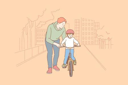 Fatherhood, cycling, childhood, training concept.