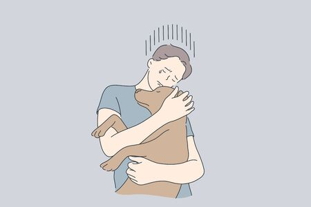 Stress, depression, frustration, embrace, animal, help concept Фото со стока - 147428548