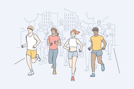 Sport, jogging, marathon, activity concept. Group of multiracial people men and women athletes running participate in city race. Summertime outdoor activity and healthy active lifestyle illustration.