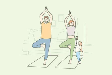 Family, yoga, sport, recreation, motherhood, fatherhood, childhood concept