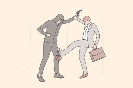 Business, robbery, crime, fight concept