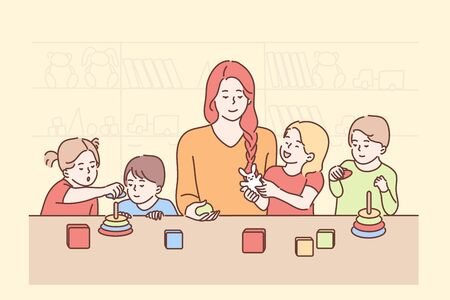 Education, teaching, game, study concept. Young smiling woman teacher cartoon character playing cubes with boys girls children kids preschoolers in kindergarten. Back to school preschool studying. Vettoriali