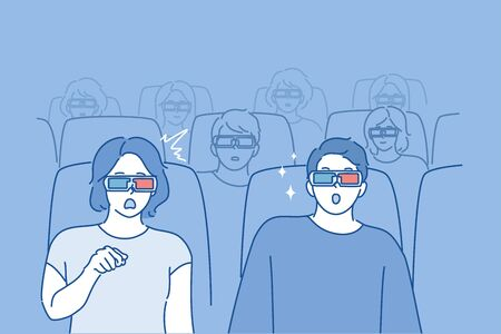 People watching movie concept