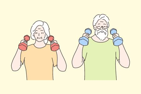 Sport, recreation, healthcare, workout concept. Healthy happy elderly people man woman senior citizens do morning exercises pulling dumbells and gymnastics. Healthy lifestyle and active leisure time.