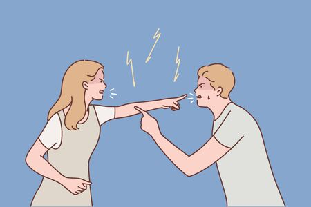 Family, couple, quarrel, divorce, agression, conflict concept. Young aggressive man boyfriend and woman girlfriend parents yelling and quarrelling. Crisis marriage problem trouble and disagreement.