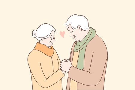 Relationship, love, couple, old age concept. Happy man and woman senior citizens cartoon characters holding hands together. Feeling happy of granddaddy and grandmother retirement age illustration. 矢量图像