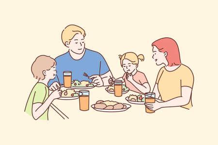 Family, recreation, leisure, dinner, fatherhood, motherhood, childhood concept