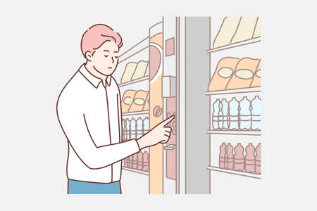 Cashless card payment concept. Young businessman boy clerk manager cartoon character customer buying food drinks at electronic vending machine. NFC service, contactless pay technologies illustration.