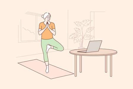 Yoga, sport, quarantine, training, education concept