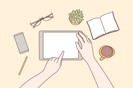 Technology, mobile, media, business concept. Human character hands using tablet in office for work or social network communication or watching videos. Digital technological devices in daily life. Illusztráció
