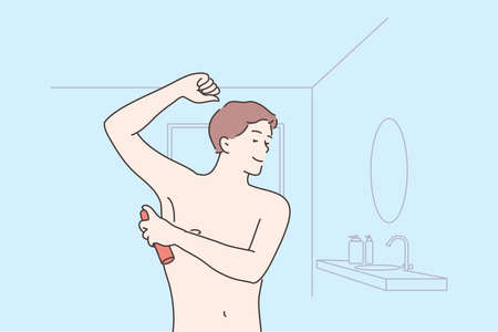 Health, care, smell concept. Young happy man or guy cartoon character applying spray on armpit for good fresh scent or odor. Healthy lifestyle and domestic daily morning routine procedure illustration