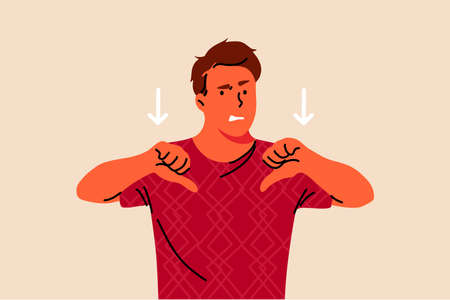 Denial, dissapproval, dissapointment, negativity, emotion concept. Young unhappy dissatisfied man or guy showing thumds down. Negative reaction expressions gesture and dissagreement illustration.