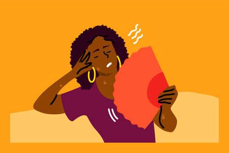 Mental stress, heat, dehydration, inconvenience concept