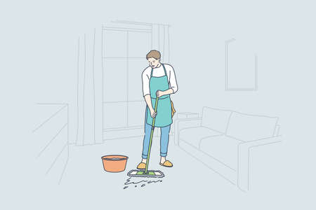 Cleaning, work, occupation, home concept Vettoriali