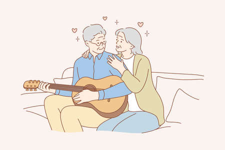 Couple, love, play, romance, music, recreation concept