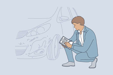 Accident, examination, checkup, collision, automobile concept