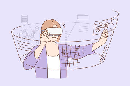 Technology, virtual reality, entertainment concept. Young happy smiling excited woman girl cartoon character standing with vr glasses goggles. Technological progress and modern lifestyle illustration.